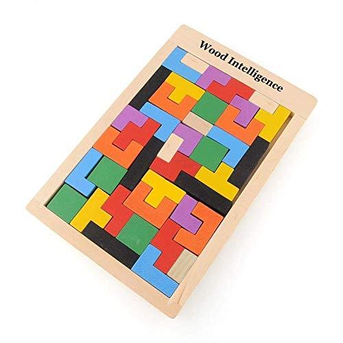 Flybiz Puzzle de Madera Tetris,Tangram Rompecabezas Juego Juguetes educativos (40 Piezas),Jigsaw Puzzle Tetris del Juguete, Tetris del Niño del Juguete De Niños Montessori Rompecabezas De Madera