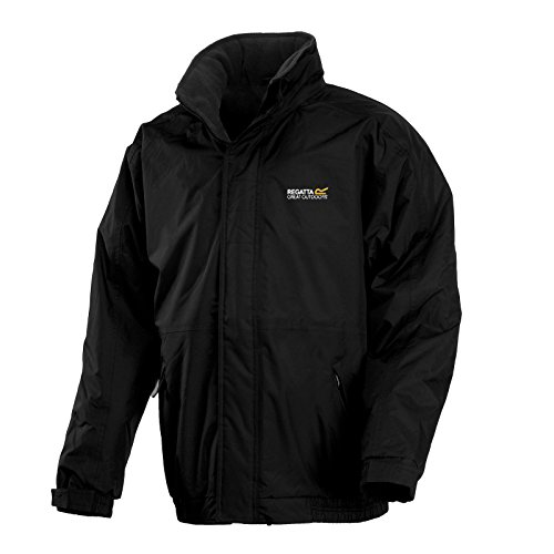 Regatta Mens Dover Jacket Waterproof Fleece Lined Hooded Full Zip (L, BlackAsh)