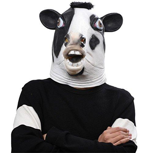 Auspicious beginning Latex Tier Kuh Kopf Maske, Neuheit Kostüm Gummi Masken (Schwarzes Schaf Kostüm Kleinkind)