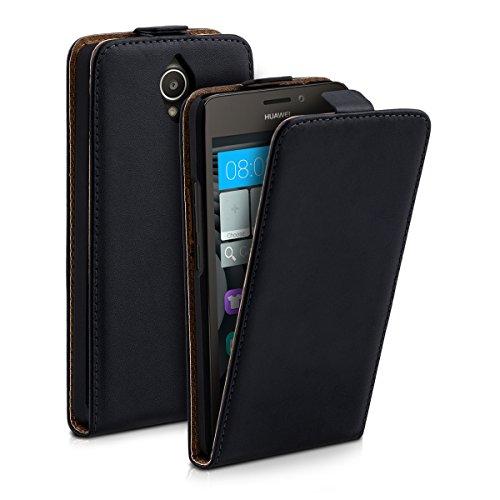 kwmobile Flip Case Hülle für Huawei Ascend Y635 - Aufklappbare Kunstleder Schutzhülle Tasche im Flip Cover Style in Schwarz