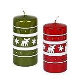 Juego de 2velas verde rojo Navidad velas (Diseño de Reno de Navidad