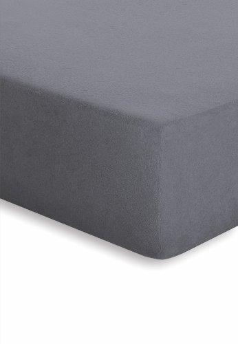 Schlafgut 005-128 Frottee Stretch Spannbetttuch / 180 x 200 cm, graphit