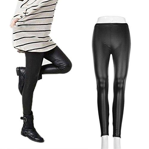 Leggings Stretti da Donna Sexy in Ecopelle a Vita alta Sottile Elasticizzata Ghette Comodissimi A01: Nero