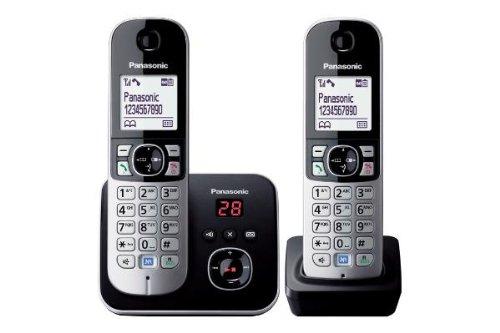 Panasonic KX-TG6822JTB Telefono Cordless Digitale (DECT) Doppio con Segreteria Telefonica, Vivavoce,...