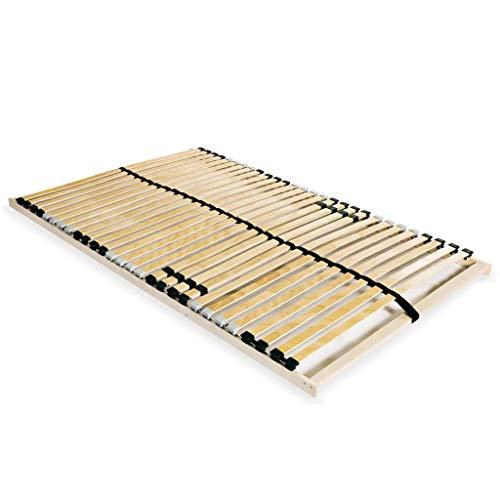 vidaXL Sommier à Lattes avec 28 Lattes 7 Zones 140x200 cm Lit Double Hêtre FSC