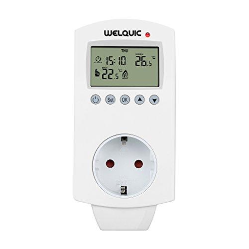 Termostato enchufable Welquic Enfriamiento de calefacción HY02TP Enchufe controlador de temperatura programable 5-2 días con función de temporización para calentadores eléctricos