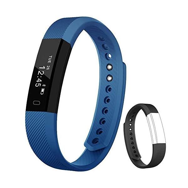 Rayfit Pulsera Actividad Inteligente Reloj Deportivo Fitness Tracker Monitor de Sueño Contador de Calorías Reloj Cuenta Pasos Ejercicio Salud Podómetro Pulsera Inteligente para Mujer Hombre Niños 1