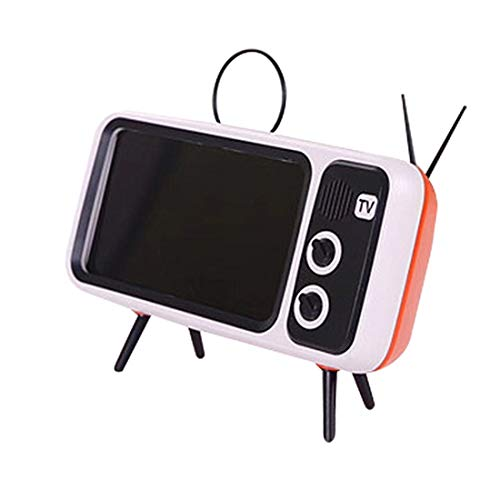 Ggoddess PTH800 Handyhalter in Retro TV Form, Tisch Handy Zubehör, Desktop Handy Ständer für die Telefone Mit 4,7-5,5 Zoll Bildschirm, Orange (Und Telefon Fernseher)