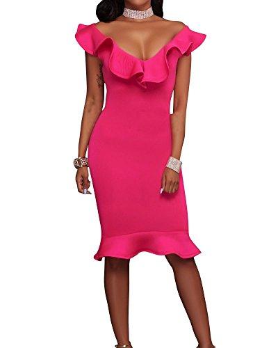 Donne Tinta Unita Vestono Flouncing Vestito V-collo Profondo Rose Rosso