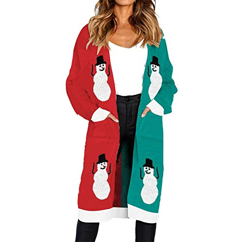 (Subfamily Pullover & Strickjacken Oberbekleidung Frauen Herbst Winter gestrickt Weihnachten elch Weihnachtsbaum schneemann englisches Alphabet Print Langarm Strickjacke Mantel)