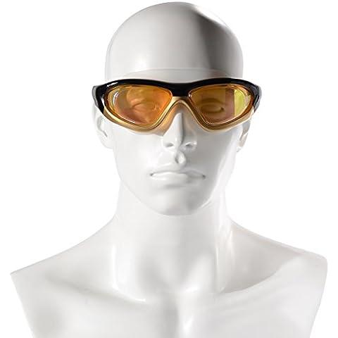 Gafas de Natación con Protección Uv Impermeable Anti-vaho Montura Grande de Espejos y Cómodos Cristales de Natación Suaves con Par de Tapones para los Oídos GRATIS para Adultos Xcellent Global S-FS024