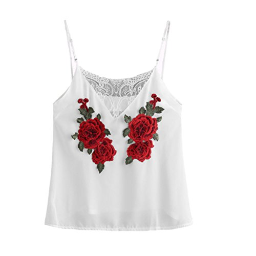 Vovotrade ✿✿ Lady Rose Patch Lace Insert Cami Weste (Size:M, White) (Womens Cami Lace)