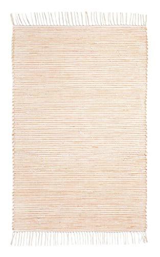 Onloom Alfombra Milo Tejida a Mano, 100% algodón, Lavable a 30°C, Farbe:Rayado Naranja, Größe:60x120cm...