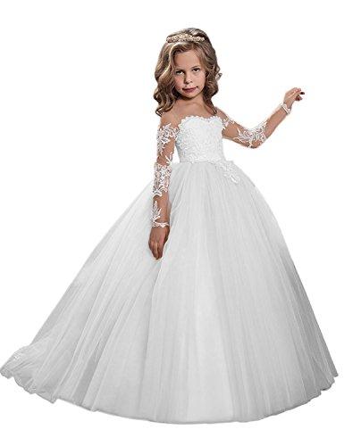 Carnivalprom Mädchen Blumenmädchenkleider Mit Ärmeln Bodenlanges Kinderkleid Erste Kommunikation Kleider Partyskleid(Weiß,11-12 Jahre) (Benutzerdefinierte Gemacht Kostüm Kinder)
