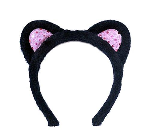 Kinder und Erwachsenen Cute Lovely Haarband Schwarz Katze Ohren Kopfband für Weihnachts Masquerade Party Cosplay Kostüm (Für Kostüm Make Up Frauen Katze)