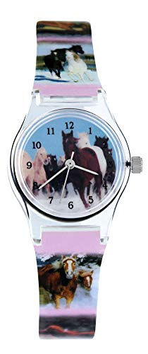 Pacific Time Kinder-Armbanduhr Pferde Mädchen Kinderuhren Kinderuhr analog Quarz Mehrfarbig 20569