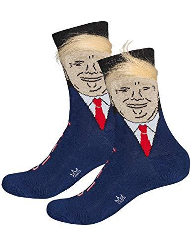 Frecoccialo Lustige Socken Damen Herren Präsident Donald Trump Witzige Strümpfe mit gefälschten 3D-Haaren als Geschenk, Einheitsgröße