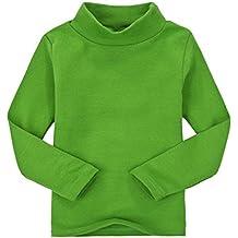 Casa Niños unisex Tops chica niña de manga larga camiseta de algodón cuello  alto Tee variedad bbd6207da55