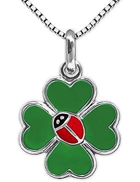 CLEVER SCHMUCK-SET Silberner Anhänger kleines Kleeblatt 11 mm grün lackiert als Glückssymbol mit Marienkäfer rot...