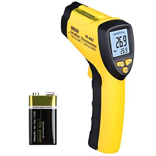 60 Sek. Thermometer (URCERI Digital Laser Infrarot Thermometer IR-802, IR Pyrometer -50°C bis +580°C Temperaturmessgerät, Berührungsloser Temperaturmesser mit LCD Beleuchtung, inkl. Batterie)