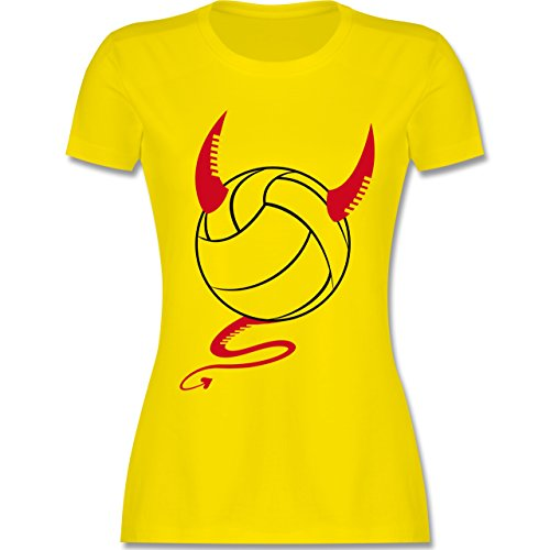 Volleyball - Teufel Volleyball Teuflischer - tailliertes Premium T-Shirt mit Rundhalsausschnitt für Damen Lemon Gelb