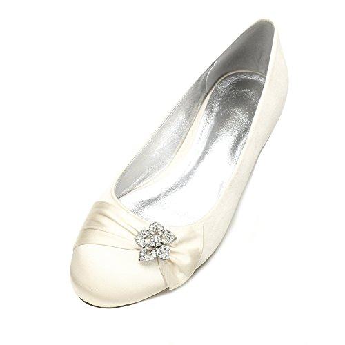 MarHermoso Hochzeit Schuhe Damen Runde Ballerinas Brautschuhe Satin