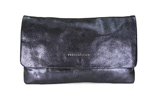 FREDsBRUDER Bright Big Clutch with Chain Ledertasche Handtasche Damen Umhängetasche - 28x16x3 cm (B x H x T) (Metallic Blue)