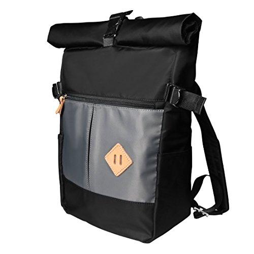 Wink Gal Unisex Vintage Roll-top Freizeit Schwarz Rucksack Daypack für Jugendlich Jungen Damen Herren Schule Schulrucksack