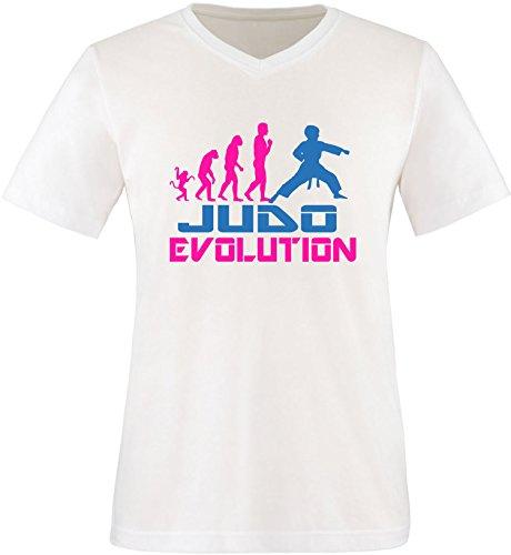EZYshirt® Judo Evolution Herren V-Neck T-Shirt Weiss/Pink/Blau