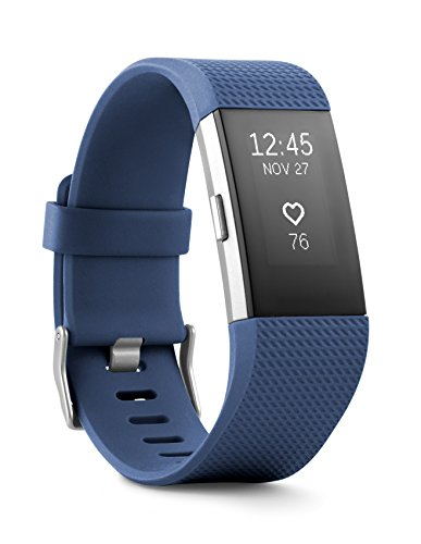 Fitbit Charge 2 Wireless Activity Tracker and Sleep Wristband (Large, Blue/Silver)