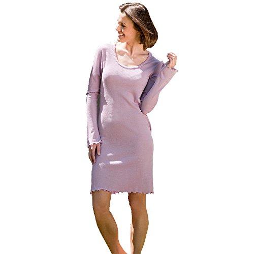 Ange naturel, chemise de nuit femme en laine mérinos soie Lilas