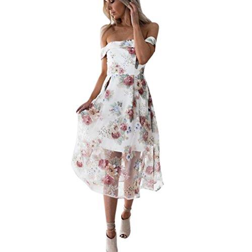 feiXIANG Damen Sommer kleid off Schulter Floral bedruckt lange Maxi kleider Dress Frau Blumendruck Kleid Partykleid (M, Multicolor)