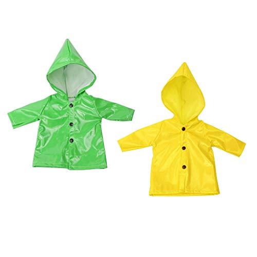 F Fityle 2pcs Puppenkleidung Regenmantel Outfit Regenkleidung für 18 Zoll amerikanisches Mädchen Puppe