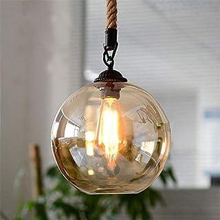 Modern Design Loft Industrial Glass Ball Hemp Rope Pendant Lighting Lights Ceiling Fixtures,25cm