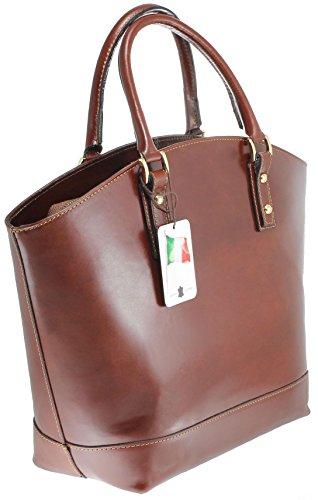 CTM Borsa Classica da Donna, Elegante alla Moda, Stile Italiano, 35x29x15cm, Vera Pelle 100% Made in Italy Marrone