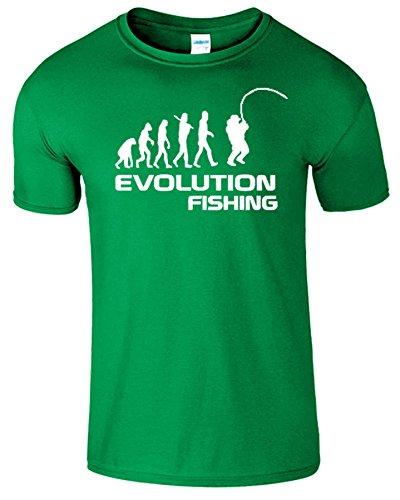 Fishing Evolution Komisch Geburtstag Geschenk Herren T-Shirt Irish Grün /  Weiß Design