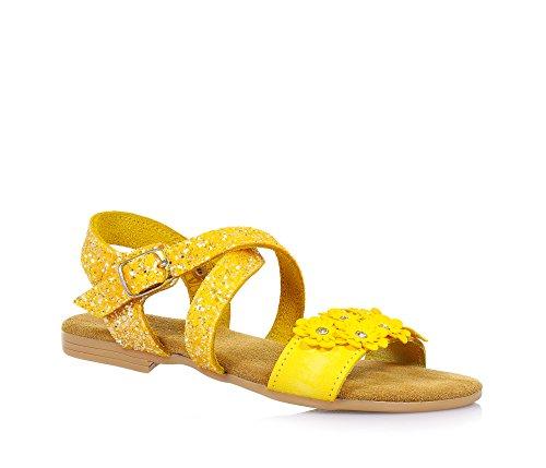 MONNALISA - Sandalo giallo in pelle e glitter, made in Italy, romantico e divertente, con chiusura con fibbia, Bambina, Ragazza-34