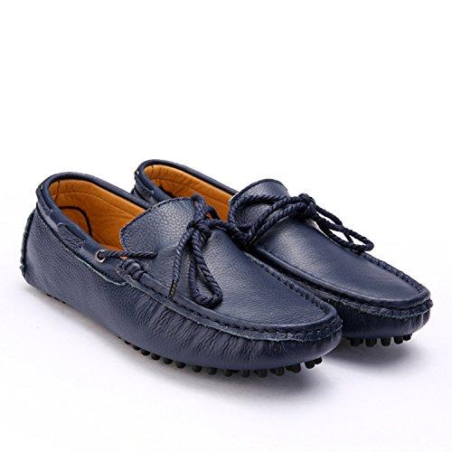 Icegrey Herren Leder Schuhe Mokassin Mit Schnüren Bogen Fahren Schuhe Halbschuhe Schnürhalbschuhe Blau
