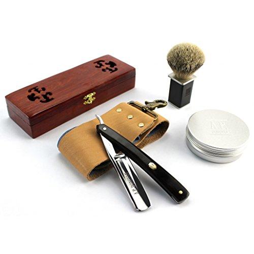 A.P. Donovan - Rasoir traditionnel de barbier pour homme | Coupe Choux | Razor | Rasage | Sandale Noire