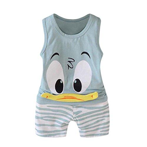 QinMM 2 Stücke Kleinkind Baby Mädchen Jungen Cartoon Weste Tops T-Shirt Shorts Outfits Set Kleidung Set Drucken Baby Kleidung Camouflage Kühlen Disney Grün Blau 12 Mt-3 T (3T, Grün) -
