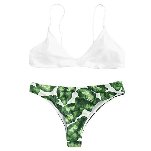 ZAFUL Women Push Up Bikini Set Bright Color Swimwear Neoprene Swimsuit Neoprene(Weiß M)