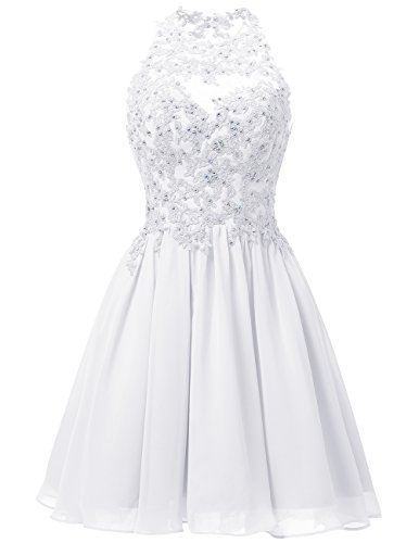 Dresstells Damen Kurz Gipüre Neckholder Ballkleid Homecoming Kleider Weiß