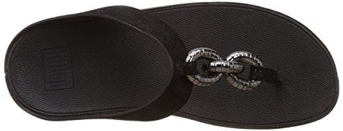 FitFlop Superchain Leather Toe-post, Sandales  Bout ouvert femme Noir (noir)