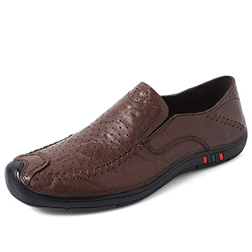 TONGDAUR Herren Driving Loafers Lässige Four Seasons Set Fußgröße Komfortable Verschleißfeste Boat Moccasins Semi Lederschuhe für Herren (Color : Hollow Dark Brown, Größe : 43 EU) -