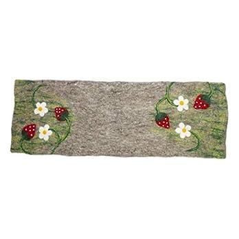 feelz – Tischläufer aus Filz Erdbeere ungefärbte Wolle Handarbeit Läufer aus Wolle Frühlingsdeko Tischdeko Frühling Blume – Fairtrade