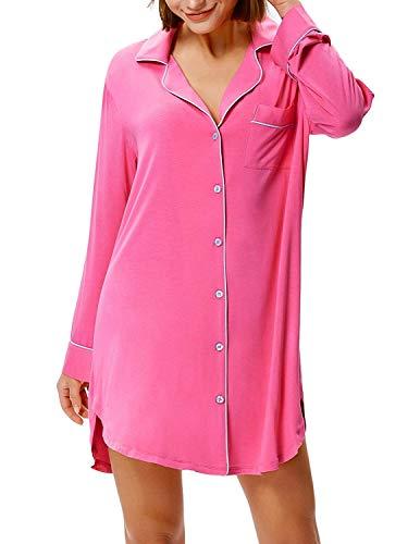 Zexxxy Nachthemd Knöpfe Damen Baumwolle Kurz Pyjama Oberteil Jersey Nachtwäsche Schlafshirt Einteiliger Sommer Langarm Viskose (Rosa, Large) Oberteil Jersey