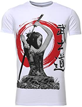 Akito Tanaka Hombres T-shirt GEISHA Delgado Fit Sección De cuello redondo Printshirt Sommershirt con motivo manga...