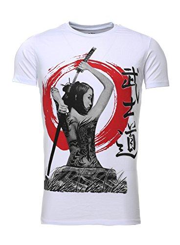 Akito Tanaka Herren T-Shirt GEISHA Slim Fit Schnitt Rundhalsausschnitt rundhals Printshirt Sommershirt mit motiv kurzarm Weiß