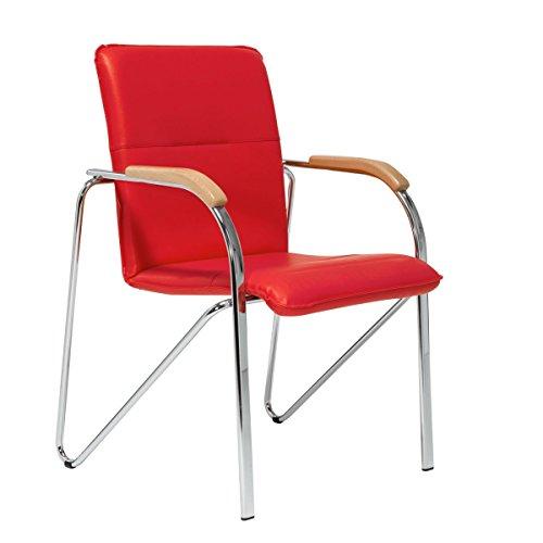 Pureday Besucherstuhl Samba - Gepolsterter Stuhl - Stapelbar - Mit Armlehne - Rot