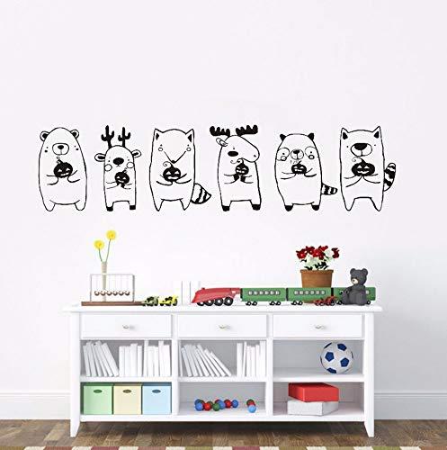 Halloween Niedlichen Tier Babys Halten Kürbis Wandaufkleber Für Kinderzimmer DIY Wandtattoos Party Halloween Dekoration Zubehör 166 * 40 cm